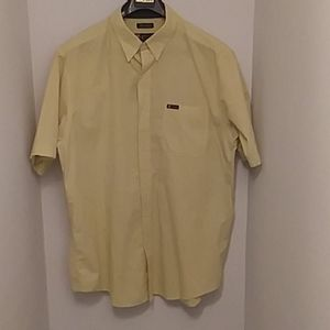 Chaps Large Yellow Blue Paid Short Sleeve Shirt